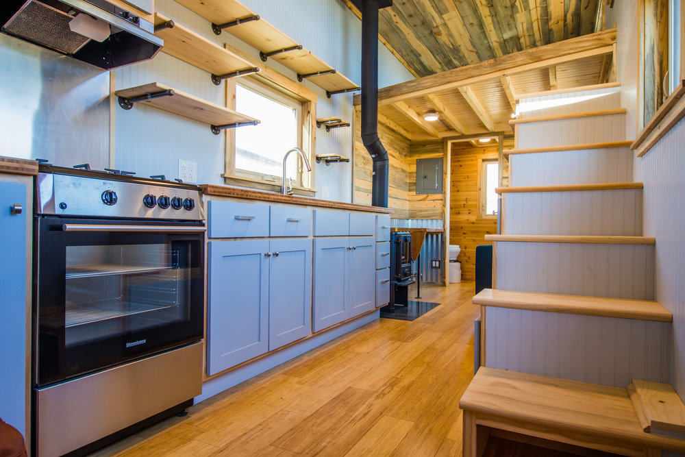 tiny house kitchen and stairs 2 - Tiny House Kitchen 2
