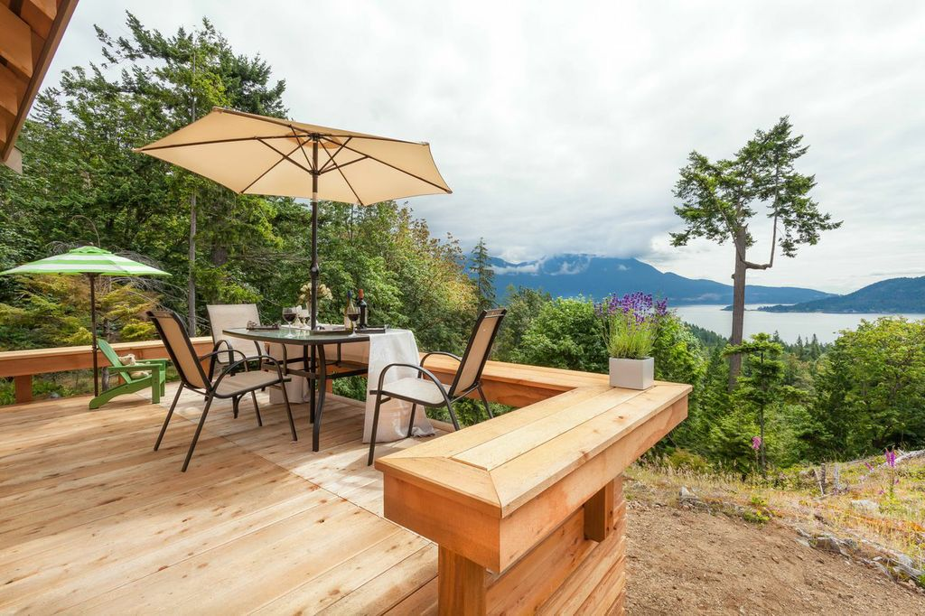 Gambier Island Cabin deck with a view
