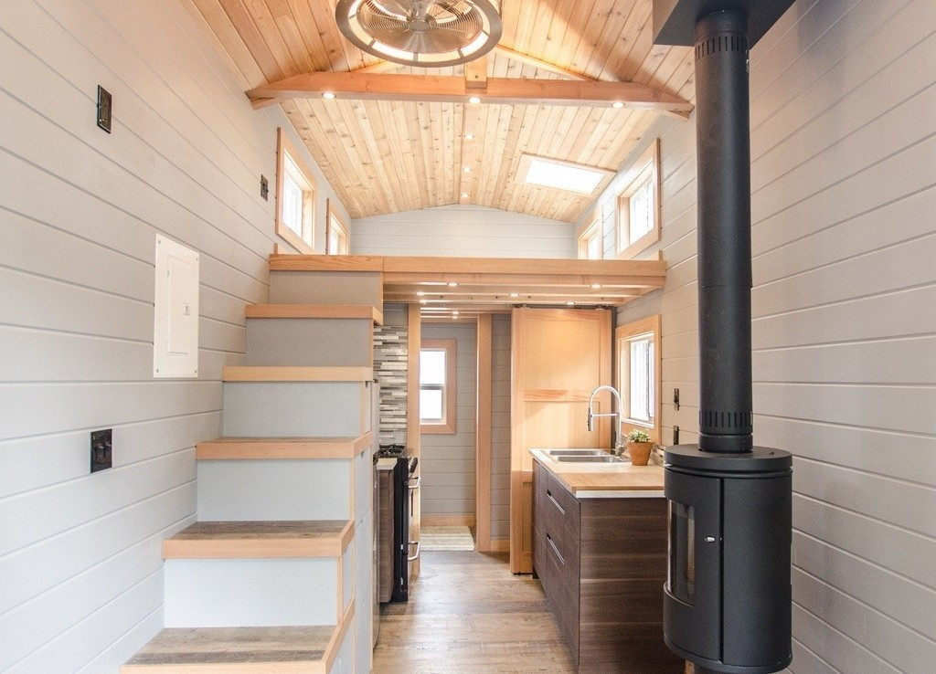 The Blue Heron by Rewild Homes - Stairs, Stove, Kitchen